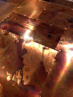 I love this handmade copper bar top.