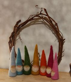 rainbow gnomes- needle felted