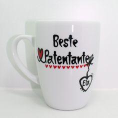 Gastgeschenk zur Taufe mit Herz für Patentante  von Lovely-Cups   auf DaWanda.com