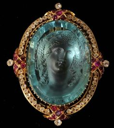"""This phenomenal aqua (beryl) bachante cameo was posted without credits today on Facebook. It was listed as """"An antique aquamarine cameo brooch/pendant, circa 1860."""" Does anyone know to whom the credit goes for this stunning jewel? I am wondering too if this is a carving from the masters in Idar Oberstein, Germany."""