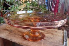 Vintage Denbys Hand Blown Crystal Cake Stand Portugal Art Glass Peach Colored Swirling Pedestal Gorgeous
