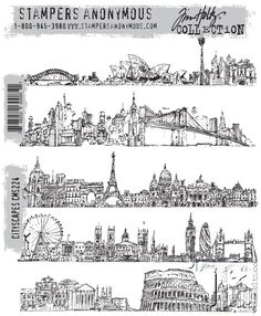 Tim Holtz Cling Rubber Stamps CITYSCAPES CMS224 zoom image