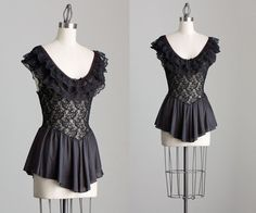 80s Vintage Black Sheer Ruffle Lace Slip Top / Lace by decades, $42.00
