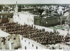 Squadrons of the 4th Australian Light Horse Brigade in formation on horseback at Gaza, February 1918 - #WW1