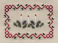 cross stitch Christmas candles