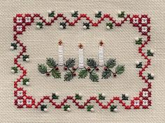 cross stitch Christmas candles
