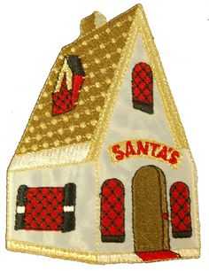 """Amazon.com: [Single Count] Custom and Unique (4"""" x 2.75"""" Inch) """"Seasonal"""" Warm Creative Christmas Santa's House w/ Lights Design Iron On Embroidered Applique Patch {Orange, Red, Yellow, Tan & Black Colored}"""
