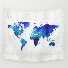 World+Map+17+-+Blue+Art+By+Sharon+Cummings+Wall+Tapestry+by+Sharon+Cummings+-+$39.00