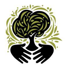 Nonprofit tree service icon, digital illustration.