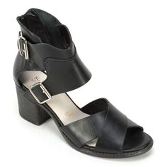 """<p>Italian+leather+open+toe+sandal+with+stacked+heel+and+dual+side+buckles+for+the+perfect+fit.+Add+a+touch+of+chic+with+front+cross+strap+detailing+that+will+take+you+from+day+to+evening+in+style.+Heel+height:+2.5""""</p> <p></p> <p><em>Please+click+""""View+Sizing+Guide''+link+to+access+product+specifications,+fit+tips+&+sizing+conversion+information.</em></p>"""