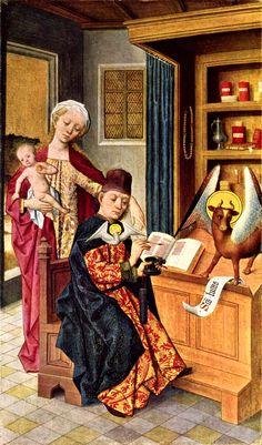 Hermen Rode (1430–1504), Lukasaltar, linker Flügel innen: Inspiration des Hl. Lukas Date: 1484 Current location: Sankt-Annen-Museum, Lübeck
