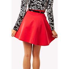 Red Belted Skater Skirt ($23) ❤ liked on Polyvore