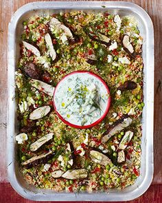 15 minute Gorgeous Greek chicken Recipe with herby vegetable couscous and tzatziki. Jamie Oliver (sub quinoa for couscous for gluten free) Vegetable Couscous, Chicken Couscous, Couscous Salat, Chicken Salad, Jamie's 15 Minute Meals, 15 Min Meals, Greek Chicken Recipes, Greek Recipes, Jamie Oliver 15 Minute Meals