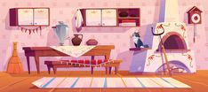 Old Russian Kitchen Interior and Traditional Stove Background Drawing, Animation Background, Episode Interactive Backgrounds, Anime Places, Low Poly 3d, Traditional Interior, Backrounds, Environment Design, Aesthetic Backgrounds