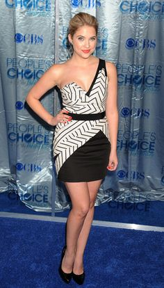Ashley Benson. She dresses it down but still looking like it is dressed up. Black and White rocks!