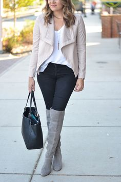 black and blush outfit - blush leather jacket with black jeans and grey suede over the knee boots   www.bylaurenm.com