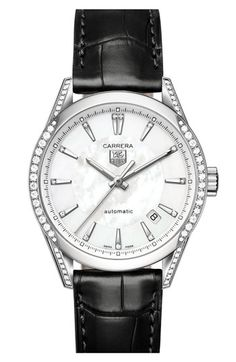 TAG Heuer 'Carrera' Automatic Diamond Case & Leather Strap Watch available at #Nordstrom