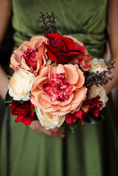 Flowers, Green, Ceremony, Orange, Brown, Dress, Bouquet, Bridesmaids, Roses, Fall, Inspiration board, Peonies, Hydrangeas, Colors, Ranunculuses