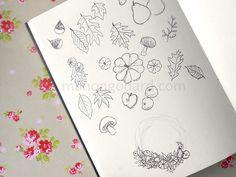 Croquis feuilles, courges, champignons. #croquis #dessin #automne #fleurs #champignons #feuilles
