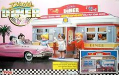Playing with Dixie's Diner, mid 1980s, with my little sister