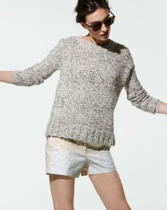 JAN '14 Style Guide: J.Crew marled drop shoulder sweater and Collection sequin shorts.