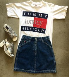 """90's Tommy Hilfiger Tee $40+$8(shipping). Size small (26""""x18""""). Tommy Jeans Carpenter Skirt size small. $45+$8(shipping) and Metallic Stacked Silver Heels size 6.5. $36+$14(shipping). Contact the store at 415-796-2398 to purchase by phone or PayPal afterlifeboutique@gmail.com and reference item in post."""