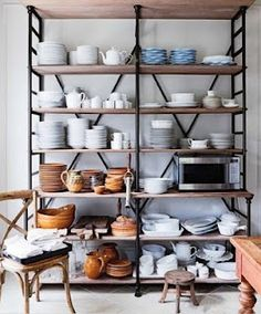 shelving inspiration - maybe in spare bedroom with industrial daybed?