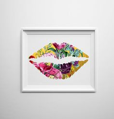 Gold lips with floral overlay cute and girly by PrintsOfHeart