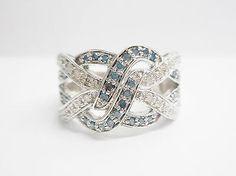 Kay Jewelers 10k White Gold .33 TCW Blue & White Diamond Band Ring Sz 5.25 #2850