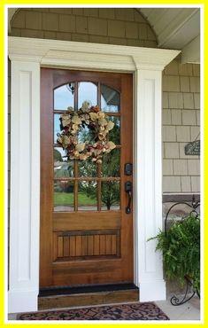 31 Ideas Exterior Door Frame Molding Home For 2019 Front Door Trims, Unique Front Doors, Wooden Front Doors, House Front Door, Front Door Design, Front Door Colors, Glass Front Door, Front Door Decor, House Doors