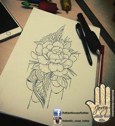 Beautiful peony flower tattoo idea design, by dzeraldas jerry kudrevicius from Atlantic Coast tattoo. Pretty tattoo idea design for a thigh arm. Mandala lace style tattoo