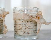 Items similar to Shabby Chic Votive Candle - French Script - Hand Stamped and Tied with Vintage Dyed Ribbon Wedding Decorations Home Decor on Etsy Glass Votive, Votive Candle Holders, Votive Candles, Candleholders, Decoupage Vintage, Shabby Vintage, Vintage Paris, Shabby Chic Ornaments, Cream Candles