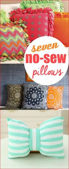7 No-Sew Pillows.  Fun projects that will spice up your house with a few tips and tricks.  Add color and style to your home with these simple pillow projects.