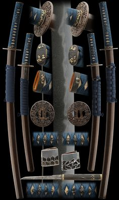 Antique shinto era samurai daisho koshirae (matched set of sword mounts) for wakizashi and katana, worn by the samurai as a symbol of their status. katana or dai signed as (mei): HEIANJO FUJIWARA (Remainder cut off) (MORIKUNI) Date: shinto 1600's. Wakizashi or sho signrd as (mei): bizen kuni ju osafune kiyo (Remainder cut off) Date: Tensho 1573. http://nihontoantiques.com