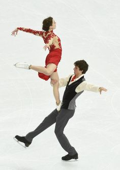 Feb 17, 2014; Sochi, RUSSIA; Alexandra Paul and Mitchell Islam ice dance free dance program during the Sochi 2014 Olympic Winter Games at Iceberg Skating Palace.