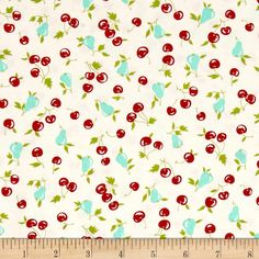 Moda Vintage Picnic Cherries & Pear Cream from @fabricdotcom  Designed by Bonnie and Camille for Moda, this fabric is perfect for quilting, apparel and home decor accents. Colors include red, aqua, green and cream.