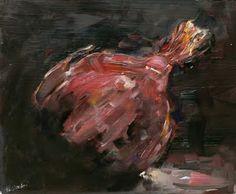 "Sold  ""Red Onion""  Oil on Panel  10"" x 8""  Heather Pasqualino Weirich  https://www.facebook.com/HeatherPasqualinoFineArt"