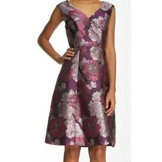 NWT Adrianna Papell floral print A line dress Absolutely stunning Adrianna Papell floral print A-line, Cap sleeve, vneck dress. Beautiful mauve/purple/pink. Fully lined. Knee lengh. 100% polyester. NWT. Adrianna Papell Dresses Midi