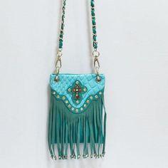 Western Cowgirl Rhinestone Bling Mini Messenger Bag Purse Cross Turquoise Fringe #Unbranded #MessengerCrossBody