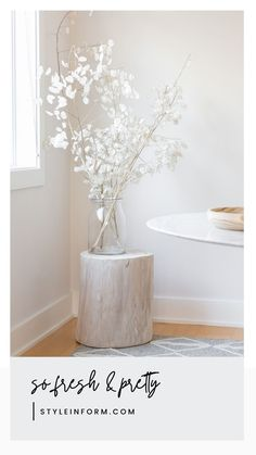 """We can't get enough of these gorgeous stumps. Made from solid paulownia wood, these must-have natural accessories in whitewash are available in 16″, 18"""" and 21"""", diameter will vary. Wholesale Furniture, Online Furniture, Solid Wood Furniture, Furniture Design, Natural Accessories, Furniture Inspiration, Form, Whitewash, Wall"""