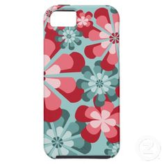 iPhone 5 Case with Mod Pink and Teal Flowers