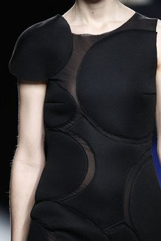Black dress with geometric applique; pattern cutting; sewing inspiration; close up fashion detail // Amaya Arzuaga F/W 2015