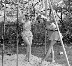 Model and Vikki Dougan in sleepwear fashions, photo by Nina Leen, May 1952