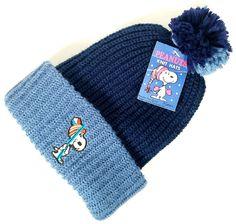 NWT Vintage SNOOPY Knit 1958 USA Ski Knit Hat Cap BLUE Deadstock *EXCELLENT* #Orlon #Ski