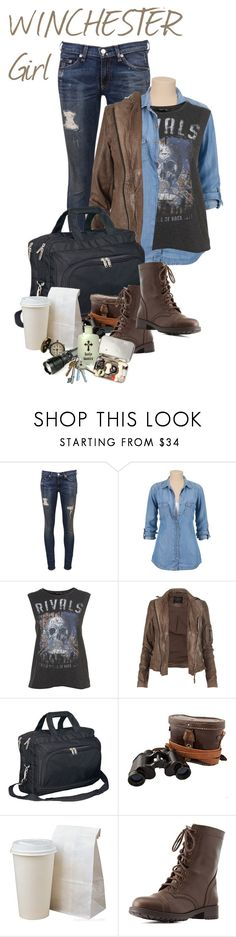 """Supernatural fandom outfit. Winchester girl. Dean and Sam."" by kamication ❤ liked on Polyvore featuring rag & bone, AllSaints, Goodhope Bags and Charlotte Russe"
