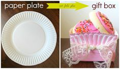 Sweet Charli: DIY Gift Box Using a Paper Plate! paint x-mas colors for coworker gift! Diy Gift Box, Diy Box, Diy Gifts, Gift Boxes, Paper Plate Box, Paper Plates, Cheap Gifts, Paper Gifts, Inspirational Gifts