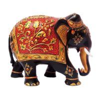 Buy Wooden Hand Painted Elephant Online Elephant India, Hand Carved, Hand Painted, Wooden Elephant, Wooden Statues, Wooden Hand, Wood Crafts, Artisan, Carving