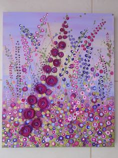 Canvas Art Ideas Acrylics - I& doing this soon!Mixed media - acrylics, fabric and beads on canvas Fabric Painting, Fabric Art, Fabric On Canvas, Paint Fabric, Fabric Beads, Painting Flowers, Painting Canvas, Diy Painting, Canvas Art