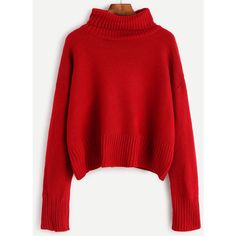 SheIn(sheinside) Burgundy Turtleneck Drop Shoulder Sweater (¥1,920) ❤ liked on Polyvore featuring tops, sweaters, red, red top, turtle neck sweater, acrylic sweater, loose turtleneck sweater and long sleeve turtleneck