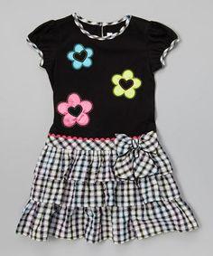 Look at this #zulilyfind! Black & White Tiered Ruffle Dress - Girls #zulilyfinds